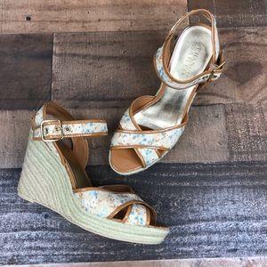 Franco Sarto Beige Floral Espadrille Wedge Heels